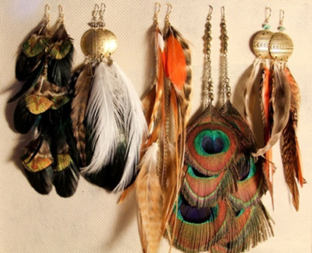 j182we-l-610x610-jewels-feathers-peacock+feathers-hippie-earings-colourful-earrings-colorful